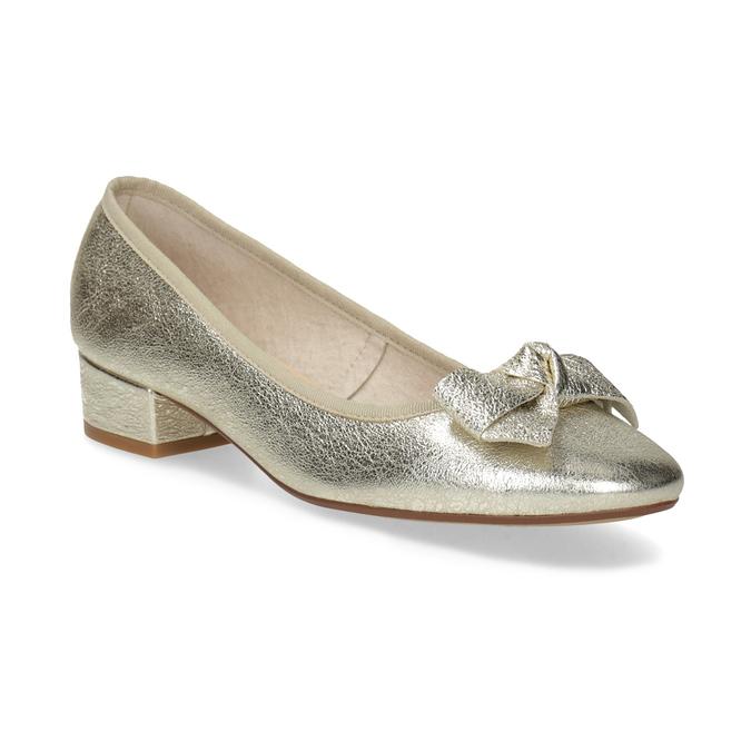 Kožené baleríny na nízkém podpatku bata, zlatá, 526-8420 - 13
