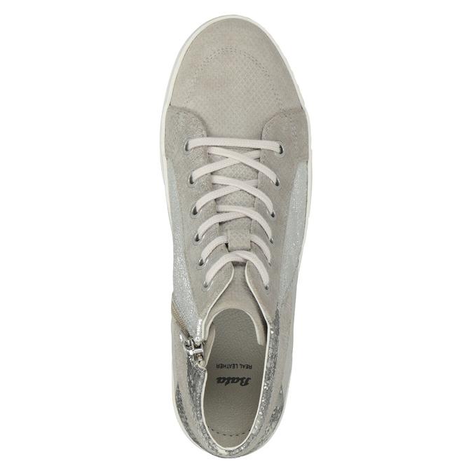 Kotníčkové kožené tenisky bata, šedá, 546-2608 - 15