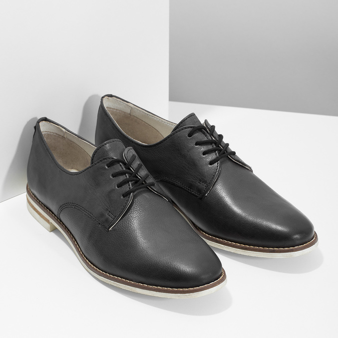 Kožené dámské polobotky bata, černá, 526-6650 - 26
