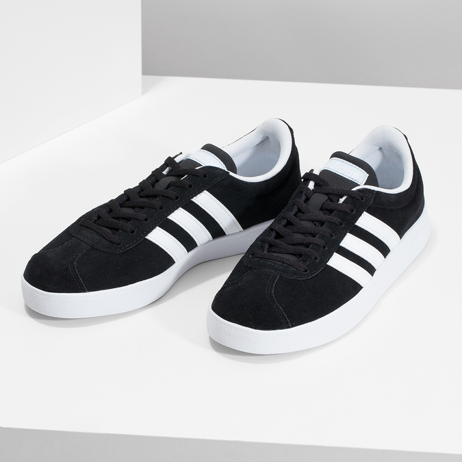 Černé dámské tenisky z broušené kůže adidas, černá, 503-6379 - 16