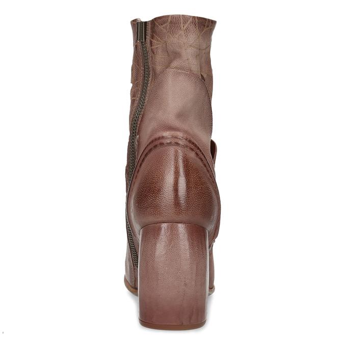 Kožené kozačky na masivním podpatku a-s-98, růžová, 716-8065 - 15