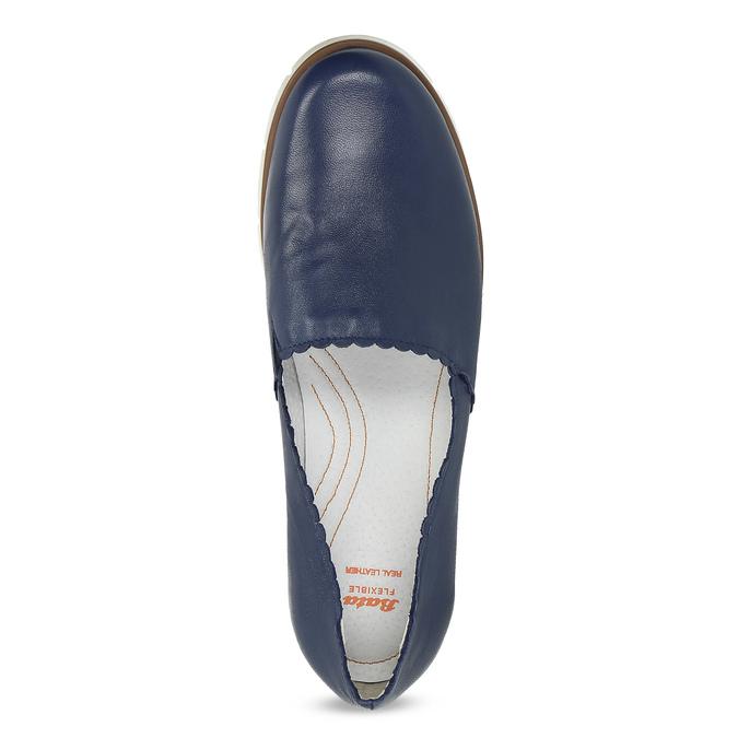 Kožené Slip-on na pružné podešvi flexible, modrá, 536-9602 - 17
