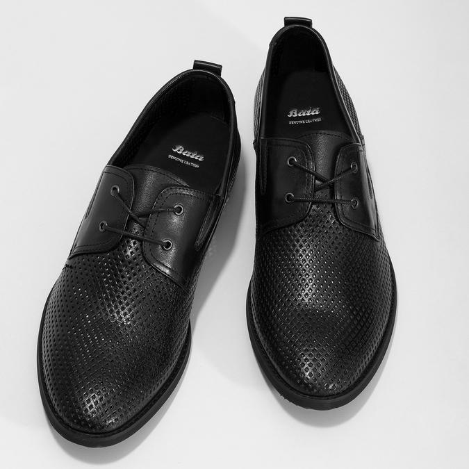 Kožené polobotky s perforací bata, černá, 854-6601 - 16