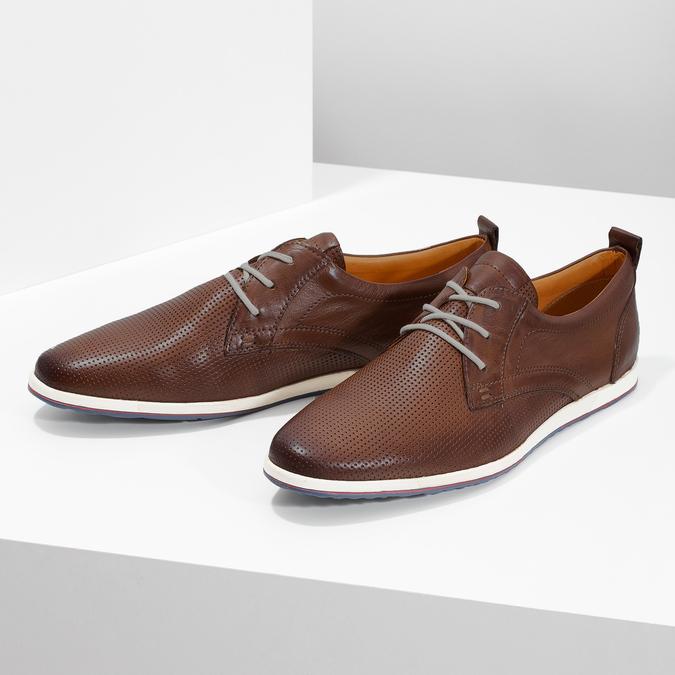 Ležérní kožené tenisky bata, hnědá, 824-4124 - 16