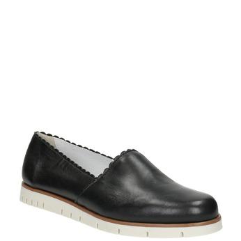 Černé kožené Slip-on boty na výrazné podešvi flexible, černá, 536-6602 - 13