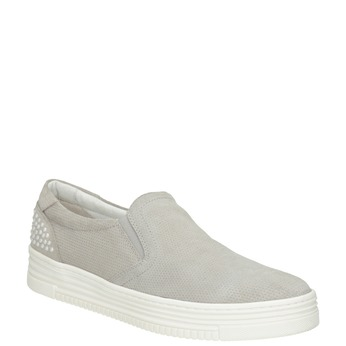 Kožená Slip-on obuv s perforací bata, šedá, 533-2600 - 13