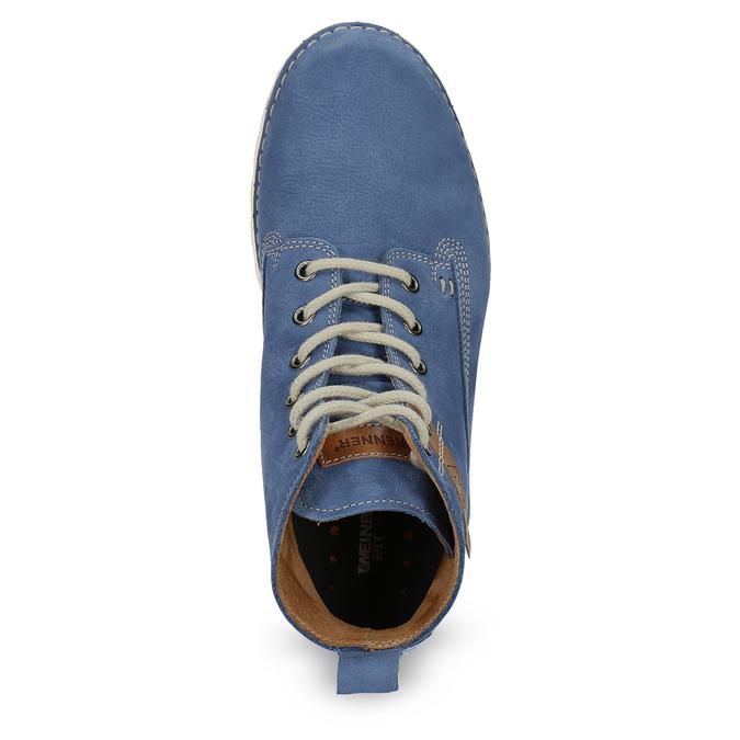 Dámská kožená kotníčková obuv weinbrenner, modrá, 594-9666 - 17
