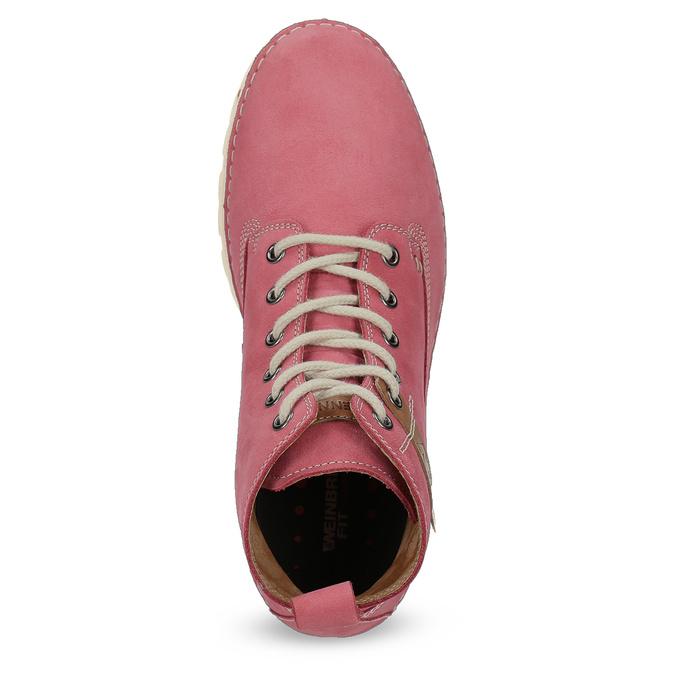 Kožená růžová kotníčková obuv weinbrenner, 594-5666 - 17