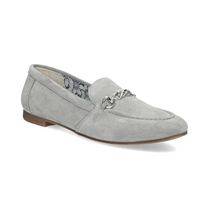 Šedé kožené mokasíny bata, šedá, 513-2615 - 13