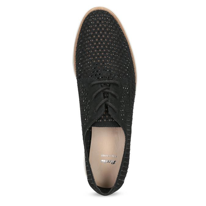 Černé polobotky s výraznou perforací bata, černá, 529-6636 - 17