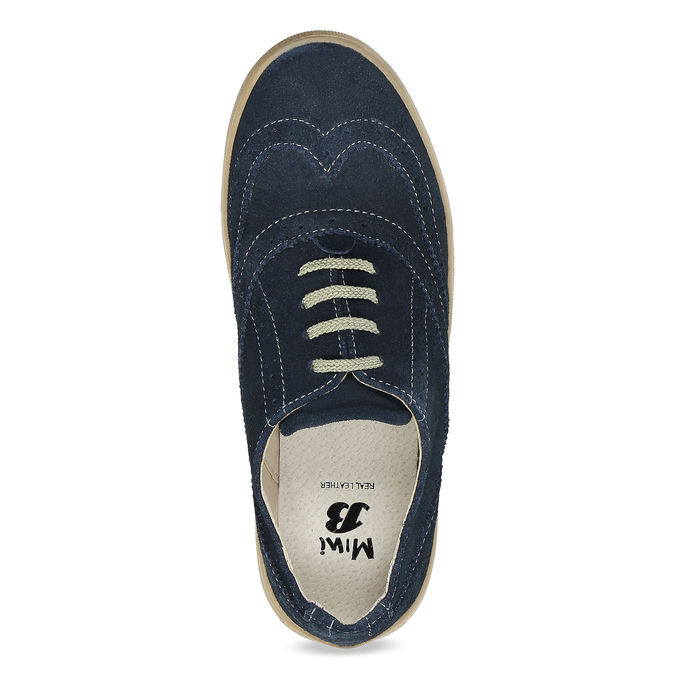 Ležérní kožené tenisky s Brogue zdobením mini-b, modrá, 313-9191 - 17
