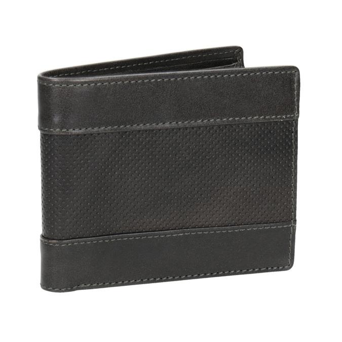 Kožená pánská peněženka s perforací bata, šedá, 944-2192 - 13