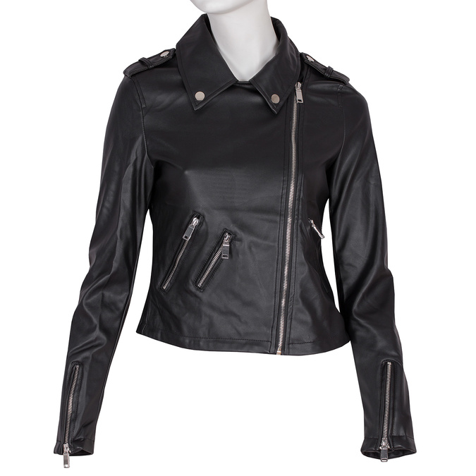 Koženková bunda s límcem a zipy bata, černá, 971-6198 - 13