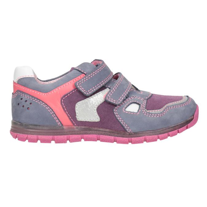 Dívčí kožené tenisky na suché zipy mini-b, fialová, 223-9604 - 26