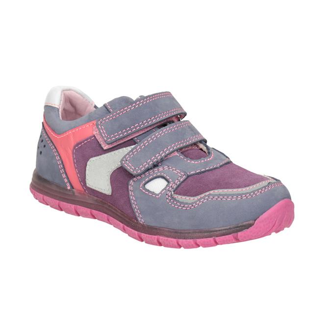 Dívčí kožené tenisky na suché zipy mini-b, fialová, 223-9604 - 13
