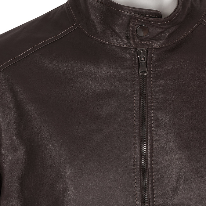 Kožená pánská bunda tmavě hnědá bata, hnědá, 974-4134 - 16