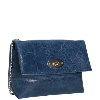 Kožená Crossbody kabelka s řetízkem bata, modrá, 964-9239 - 13