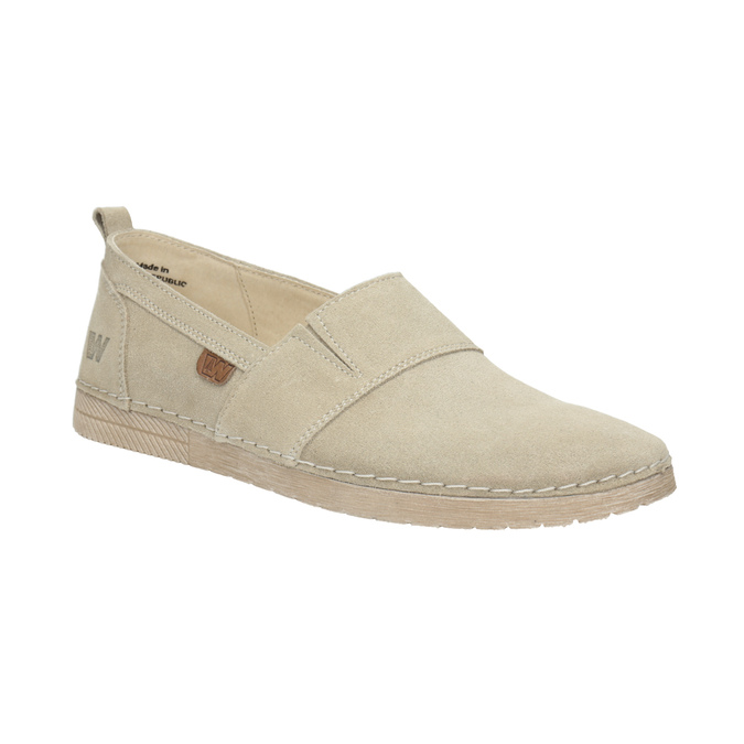 Kožená dámská Slip-on obuv weinbrenner, béžová, 536-8607 - 13