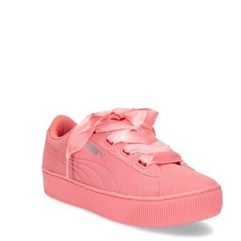 Růžové kožené tenisky na flatformě puma, růžová, 503-5737 - 13