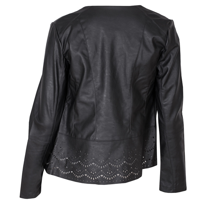 Lehká koženková bunda s perforovaným lemem bata, černá, 971-6185 - 26