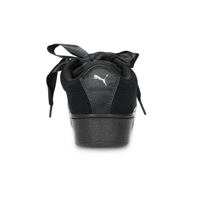 Černé kožené tenisky na flatformě s mašlí puma, černá, 503-6737 - 15