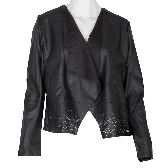 Lehká koženková bunda s perforovaným lemem bata, černá, 971-6185 - 13