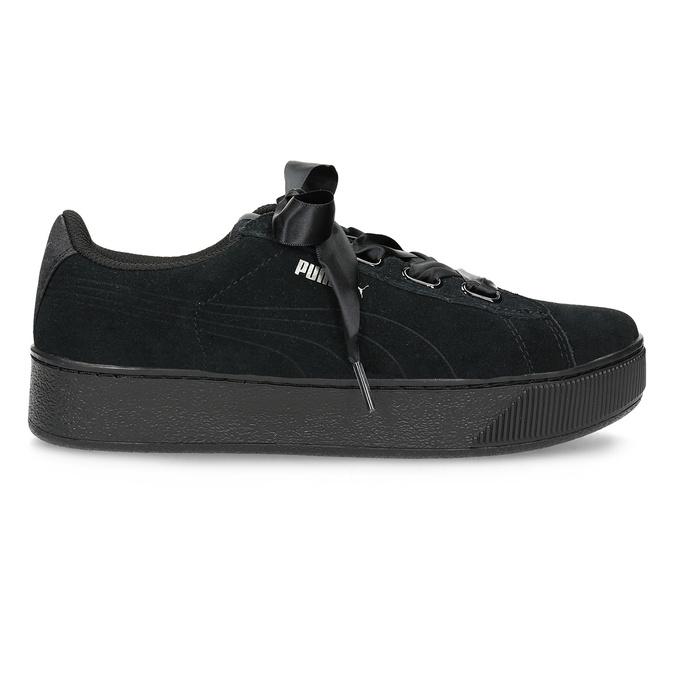 Černé kožené tenisky na flatformě s mašlí puma, černá, 503-6737 - 19