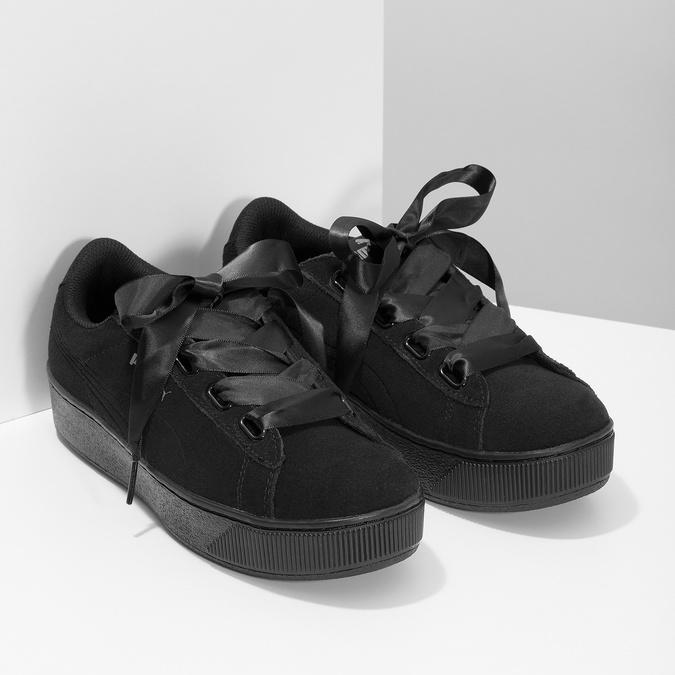 Černé kožené tenisky na flatformě s mašlí puma, černá, 503-6737 - 26
