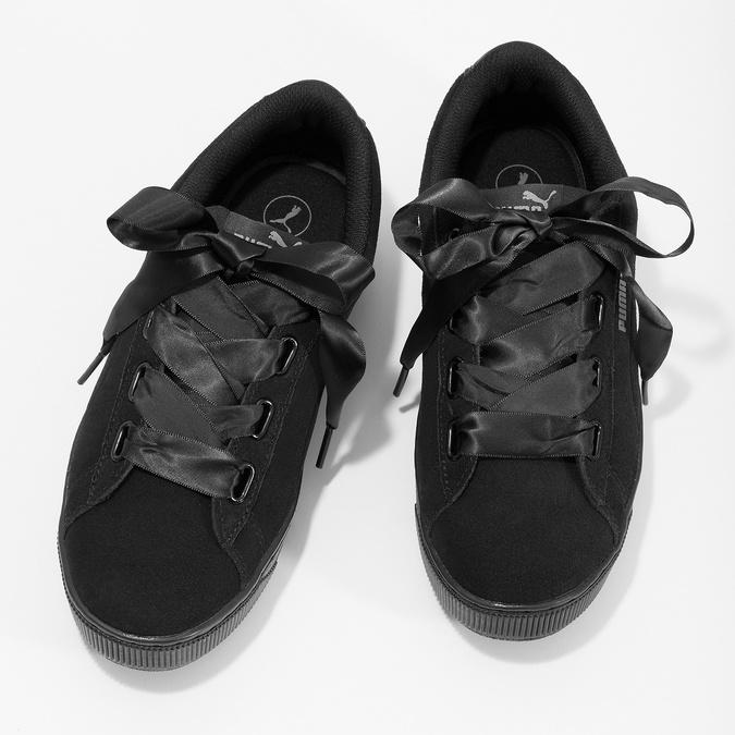 Černé kožené tenisky na flatformě s mašlí puma, černá, 503-6737 - 16