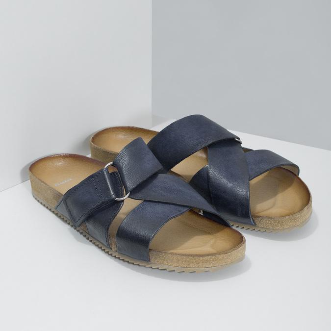 Kožené modré nazouváky bata, modrá, 866-9647 - 26