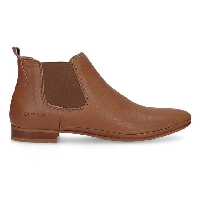 Dámské kožené hnědé Chelsea Boots ten-points, hnědá, 516-4044 - 19