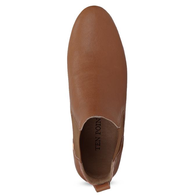 Dámské kožené hnědé Chelsea Boots ten-points, hnědá, 516-4044 - 17