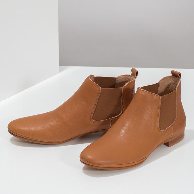 Dámské kožené hnědé Chelsea Boots ten-points, hnědá, 516-4044 - 16