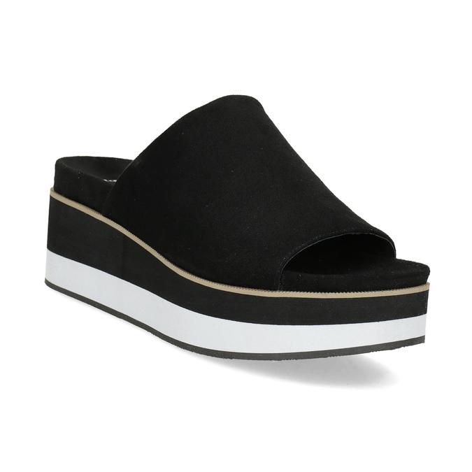 Černo-bílé nazouváky na flatformě bata, černá, 769-6630 - 13