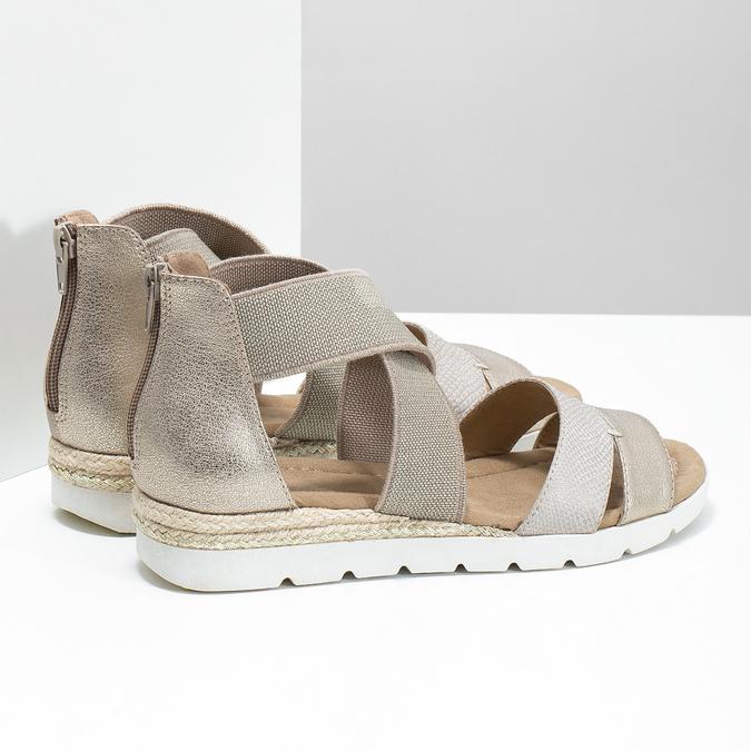 Zlaté dámské sandály na klínku bata, béžová, 569-8608 - 16
