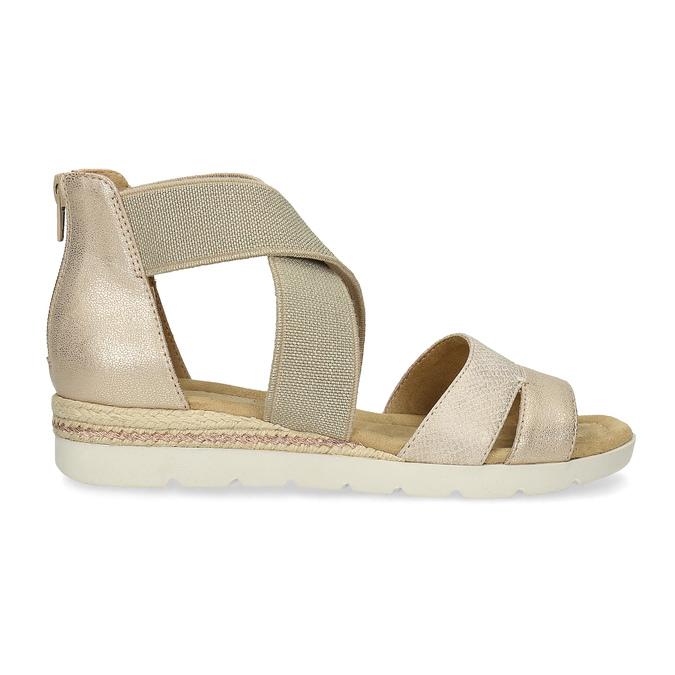 Zlaté dámské sandály na klínku bata, béžová, 569-8608 - 19