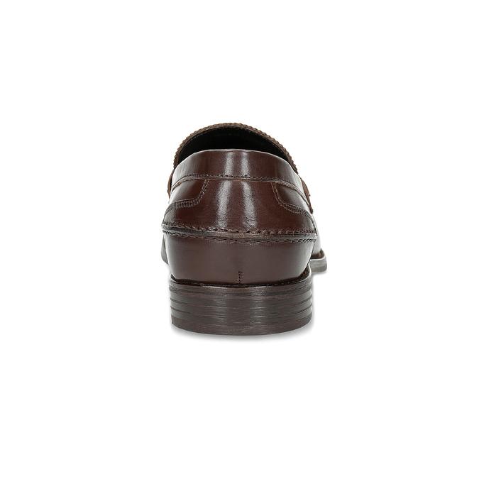Hnědé kožené pánské mokasíny bata, hnědá, 814-4128 - 15