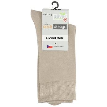 Vysoké pánské ponožky béžové matex, béžová, 919-8313 - 13