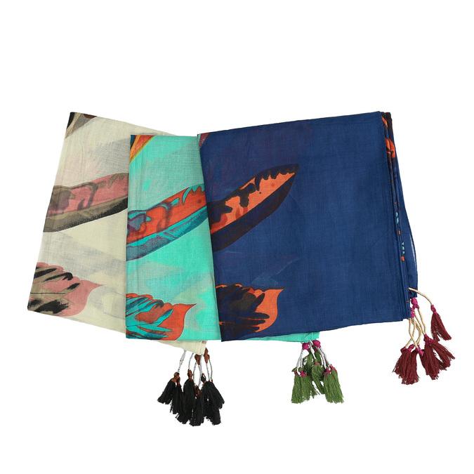 Dámské šátky s barevnými peříčky bata, vícebarevné, 909-0244 - 13