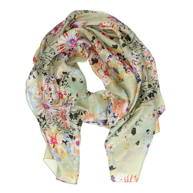 Světle zelený šátek s barevnými květy bata, vícebarevné, 909-0252 - 26
