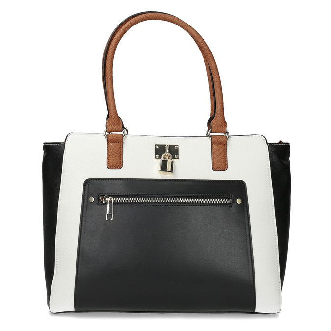 Dámská kabelka černo-bílá se zámečkem bata-red-label, vícebarevné, 961-0862 - 26