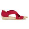 Červené kožené sandály na klínku bata, červená, 563-5600 - 19