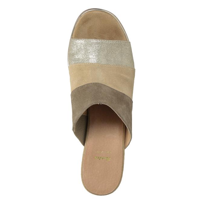 Kožené nazouváky na podpatku hnědé bata, hnědá, 666-4625 - 17