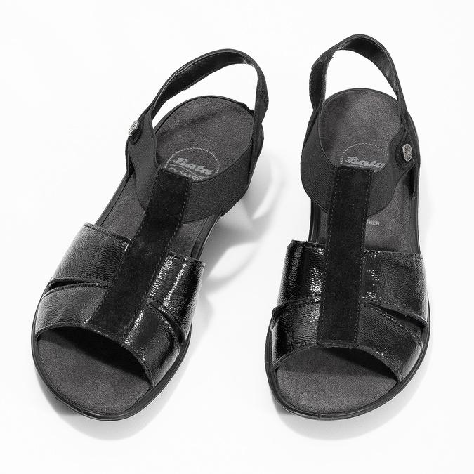 Černé kožené sandály na klínovém podpatku comfit, černá, 666-6620 - 16
