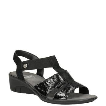 Černé kožené sandály na klínovém podpatku comfit, černá, 666-6620 - 13