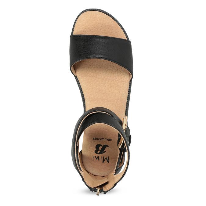 Černé dívčí sandály se zlatou sponou mini-b, černá, 361-6606 - 17