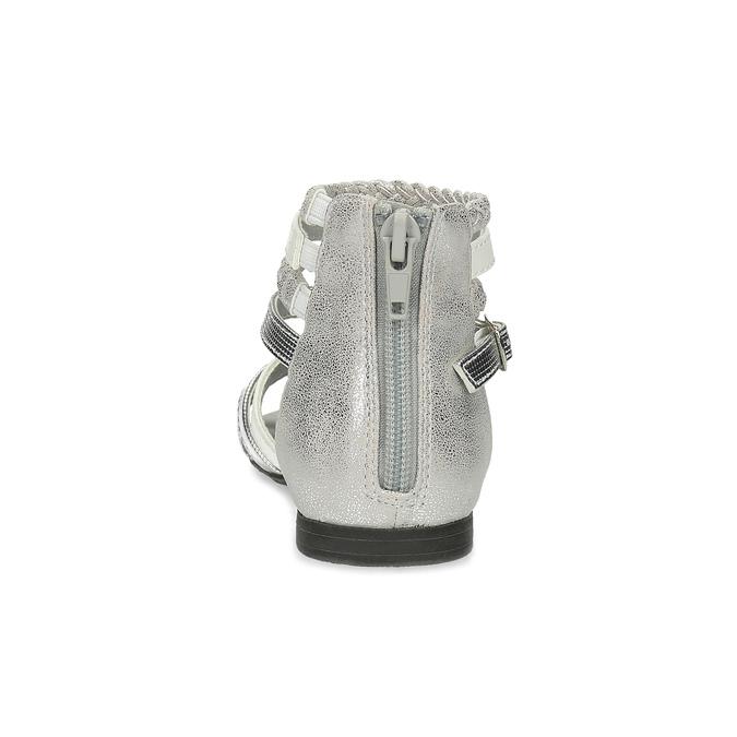Bílo-stříbrné dívčí sandály mini-b, stříbrná, 361-1605 - 15
