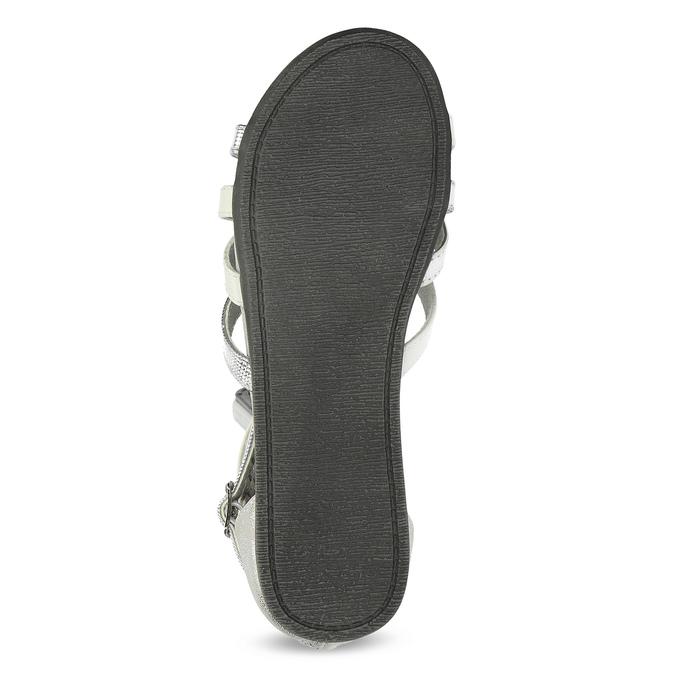 Bílo-stříbrné dívčí sandály mini-b, stříbrná, 361-1605 - 18