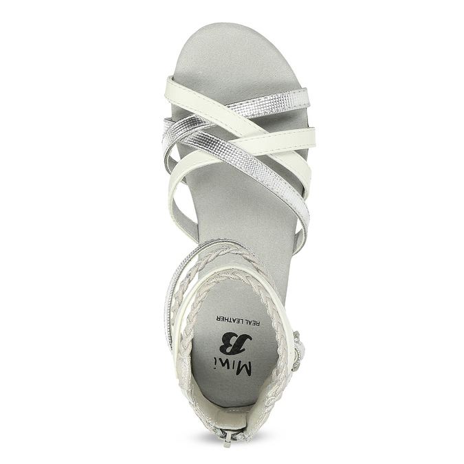 Bílo-stříbrné dívčí sandály mini-b, stříbrná, 361-1605 - 17