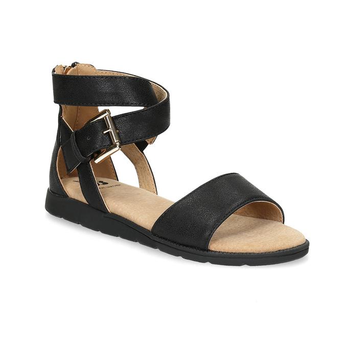 Černé dívčí sandály se zlatou sponou mini-b, černá, 361-6606 - 13